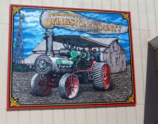 A mural of a tractor, celebrating the tradition of farming in Livingston County.