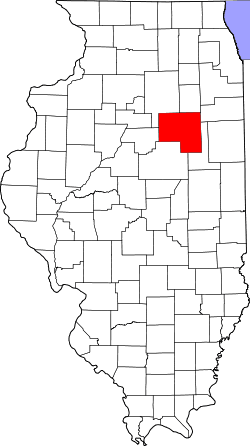 Illinois Map with Livingston County in Red