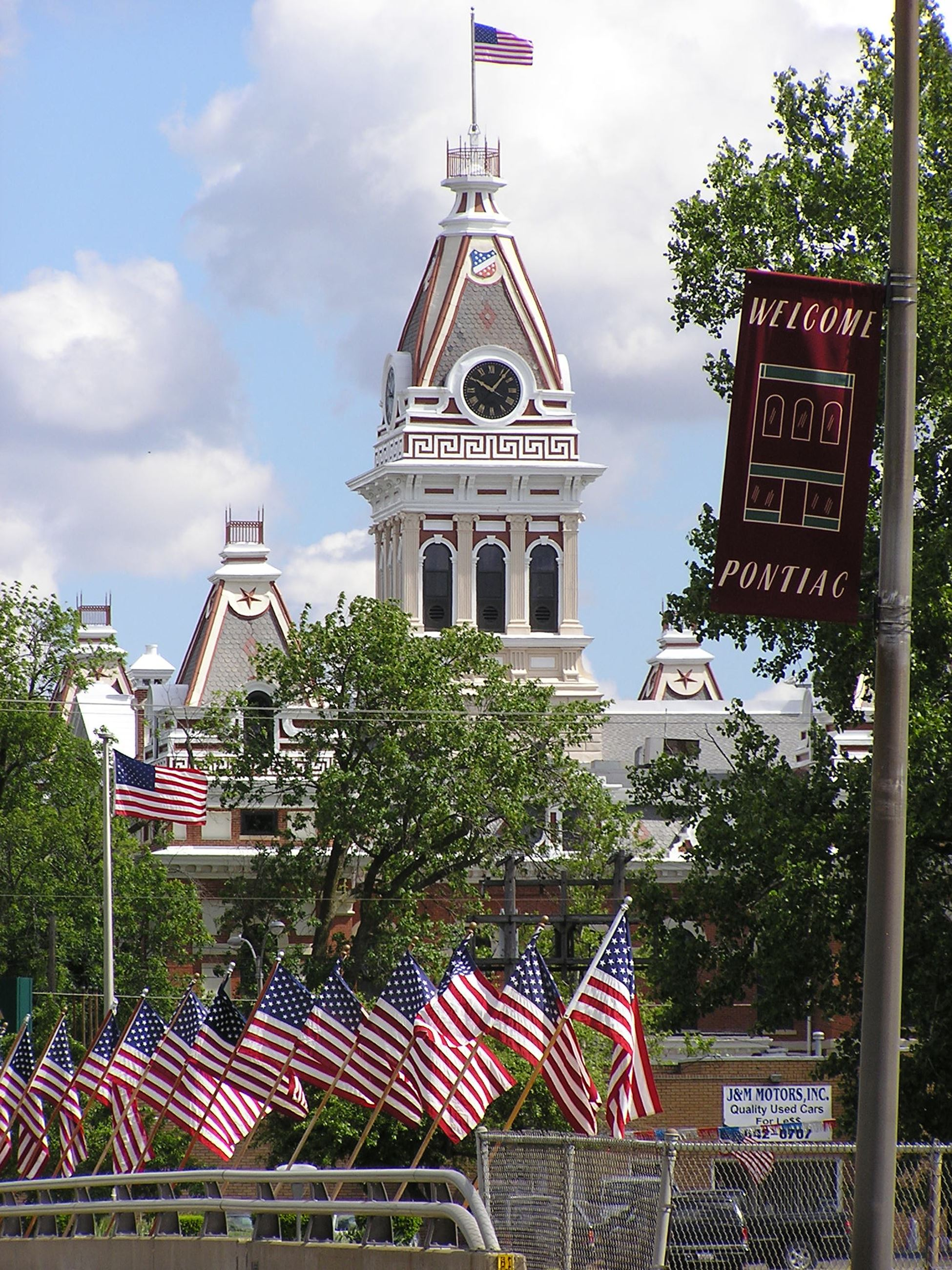 Courthouse and flags