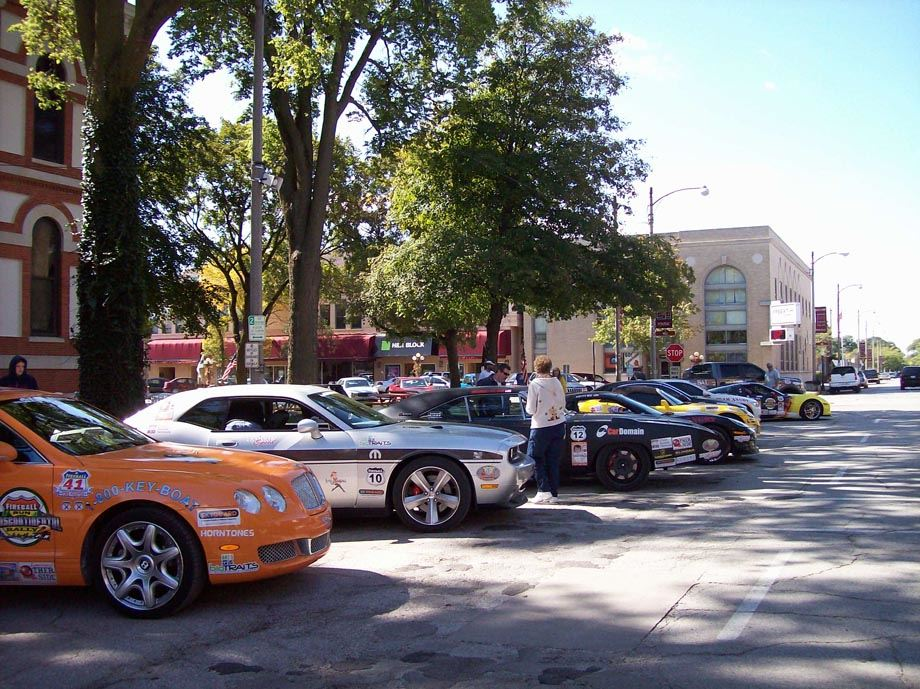 Cars parked on city square