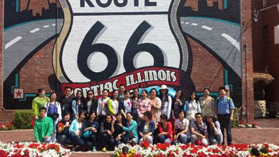 Chinese Visitors Pose at the Route 66 Mural