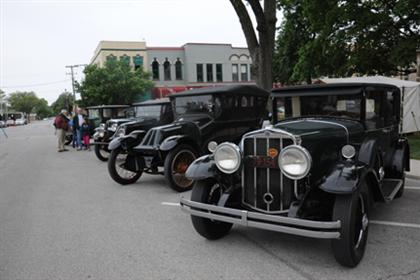 Franklin Cars line the streets
