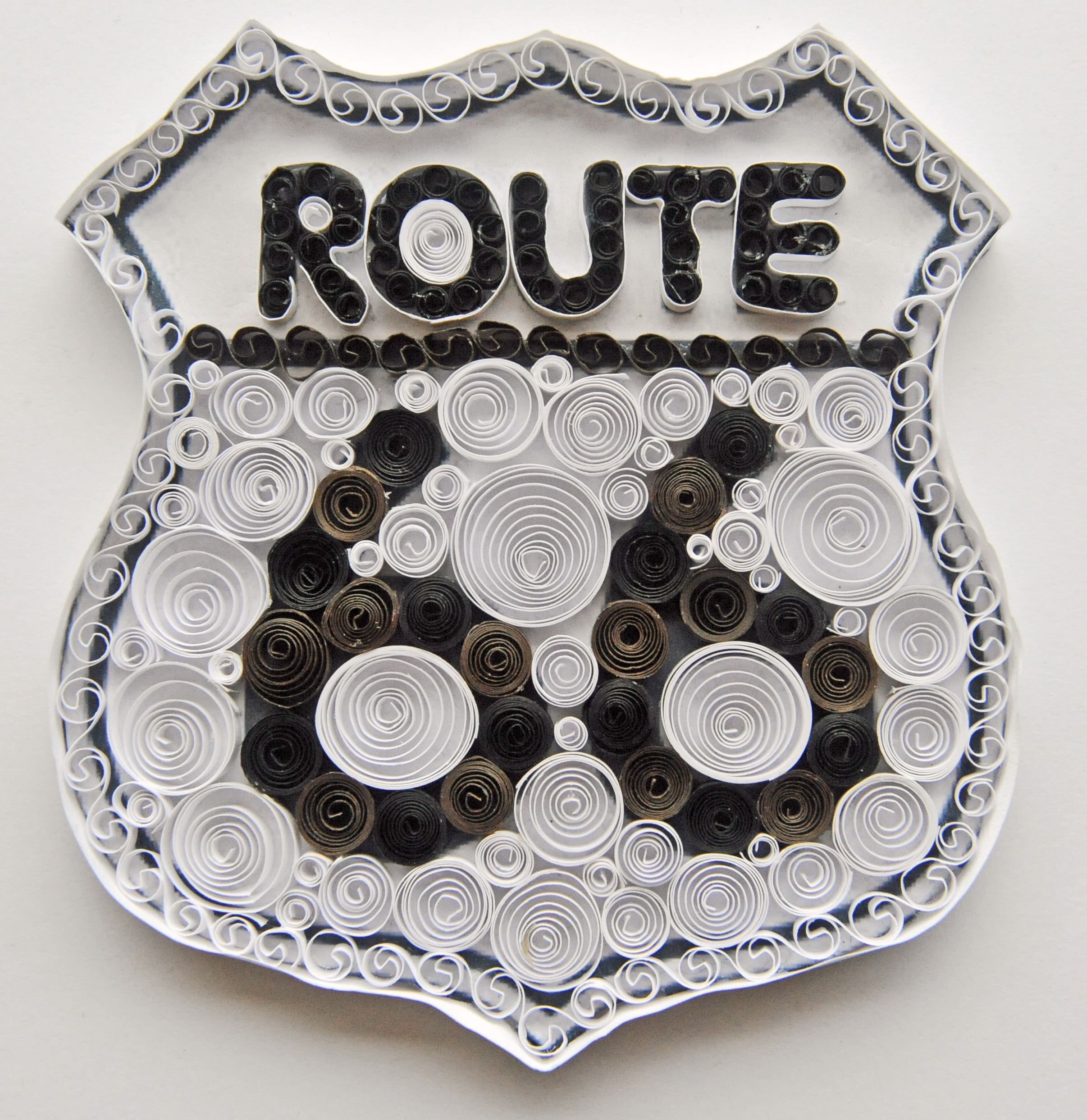 Route 66 Shield done with quilling