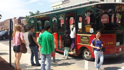 Folks Board Trolley for History Tour