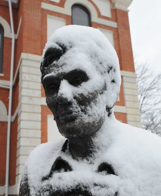 Lincoln Statue Covered in Snow