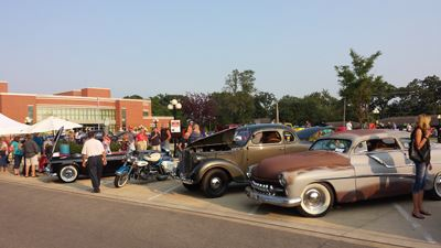 An antique car show