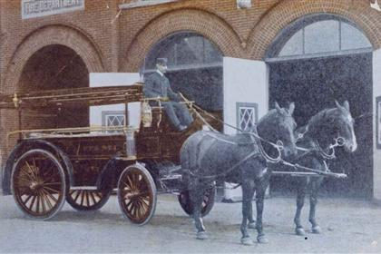 A historic photo of one of the first fire stations in Pontiac.