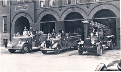 3 of the first fire trucks in Pontiac