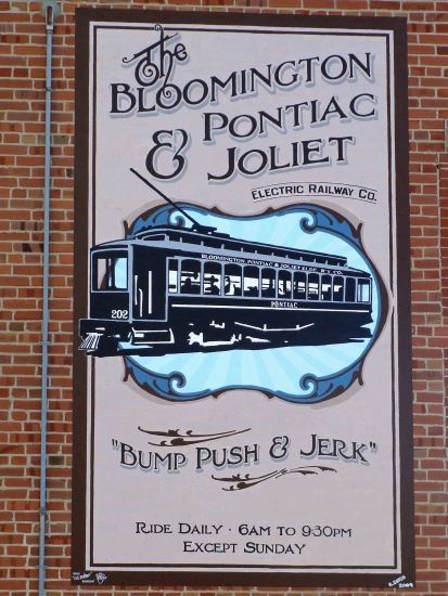 The BP&J Railroad mural on Main Street.