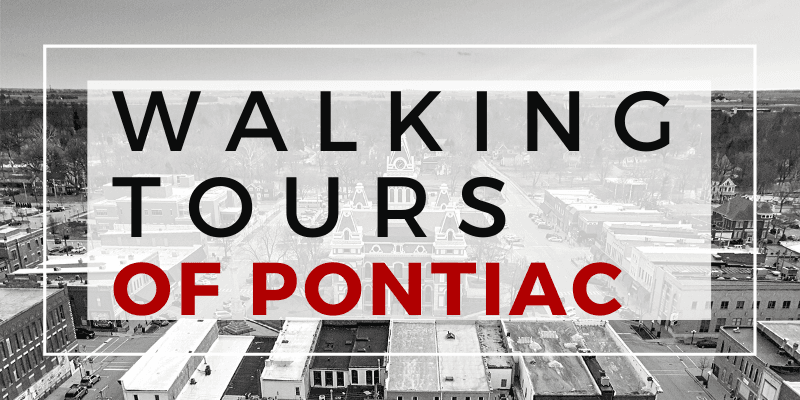 Walking tours of Pontiac imposed over an areal view of downtown Pontiac